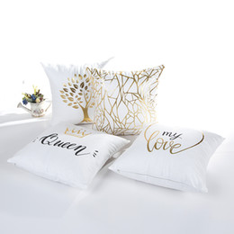 Wholesale Queen Pillow Covers - 4 Styles Crown Tree Bronzing Cushion Covers Nordic Style My Love Queen Print Cushion Cover Polyester Cotton Pillow Case For Car Sofa Seat
