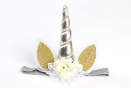 Wholesale New Baby Party - New Hair Accessories Unicorn Headwear Children's Hair Accessories Baby Party Headband 6 Colors Bronzing High quality Low price