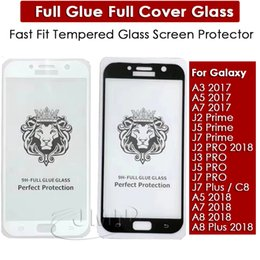 Wholesale fast glue - Fast Fit Full Glue Full Cover Tempered Glass Phone Screen Protector For Samsung Galaxy J2 PRO 2018 A8 A8 PLUS 2018 A5 A7 2018 A3 A5 A7 2017