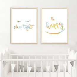 Wholesale Pictures Kids Bedrooms - Letters Art Canvas Painting Simple Quotes Nursery Posters and Prints Nordic Kids Decoraton Pictures Baby Bedroom Decoration