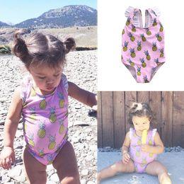 a9dc7cb722 monokini baby bath suit maillot de bain femme 0-4 years children kids print  bandage girls toddler one piece swimwear swimsuit
