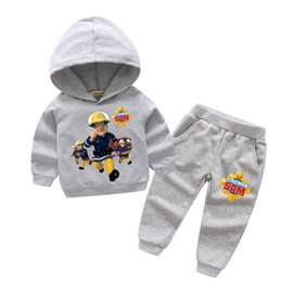 Wholesale Boys Fireman Sam - 2018 New Years Children Fireman Sam Print Sport Hoodie Suits For Boy Girls Clothing Sets Kids Casual Sport Suits Clothes TZ001