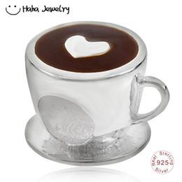Argentina Jaja Joyería Taza de café Encanto Plata de ley 925 Hora del té Latte Art con un corazón Grano Fit Pandora Charms Pulsera supplier tea time heart Suministro