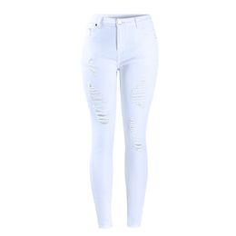 Weiße hohe taille zerrissene jeans online-Neue Damen Distressed Curvy White Mid High Waist Stretch Denim Hosen Ripped Hole Röhrenjeans für Damen Jean