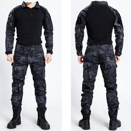 2019 uniformes del ejército Tactical Bdu Ropa Uniforme Ejército Táctico Camisa Chaqueta Pantalones Con cinturón Camuflaje Caza Ropa Kryptek Negro uniformes del ejército baratos