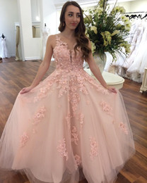 Wholesale Boho Dress Petite - Sweet Blush Pink 2018 Lace Prom Dresses A Line V Neck Bridesmaid Dresses Summer Beach Boho Reception Gowns