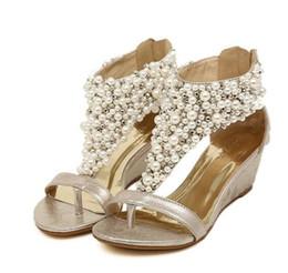 Wholesale Custom Wedge - 2018 summer New Women sandals mid heel Rome sandals Slope Clip toe Beaded pearl Bohemia folk-custom Women Sandals