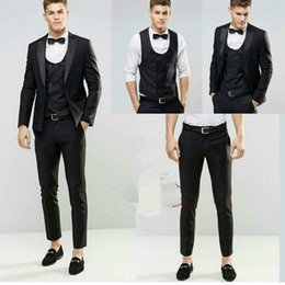 e61c806da290 Ultimi Coat Pant Design 2018 Black Wedding Groom uomini Suit smoking per uomini  Abito da sposa Tute costume homme mariage