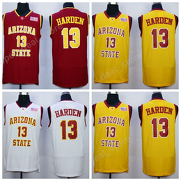 Wholesale Color White Jersey Basketball - High Quality Men 13 James Harden College Jersey Basketball Arizona State Sun Devils Jerseys All Stitched Yellow Red White Color Sports Sale