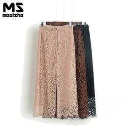 Wholesale Women Straight Elegant Black Pants - Mooishe Summer Elegant Women Lace Pant High Waist Drawstring Straight Loose Pink Brown Black Tassel Ankle Length Women Pants