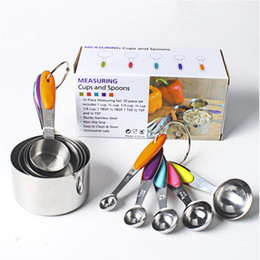 Wholesale Cup Spoon Handle - 10 Pieces Set Stainless Steel Measuring Cup Spoon with Silicone Insulation Handle Dry Measurement Baking Tool Home Kitchen Gadget