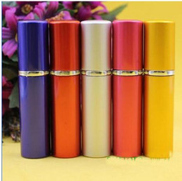 Wholesale Aluminium Makeup - 5ml perfume bottle Aluminium Anodized Compact Perfume Atomizer fragrance glass scent-bottle travel Refillable makeup spray
