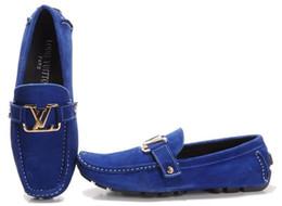 chaussures wedge mary jane Promotion Mocassins en cuir de vache Hommes Chaussures Slip-On formelle Costume Bureau Bureau Chaussure de Conduite Décontractée en Daim Doug Crâne Boucle Mors