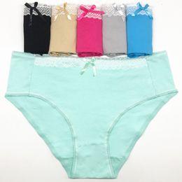 Wholesale Lingerie For Plus Size Ladies - 6 pcs  pack Plus Size 4XL Women's Underwear Cotton Lace Briefs Panties Ladies Knickers Lingerie for Women