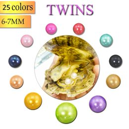 Wholesale red circles - 2018 Wholesale 25 Colors 6-7MM AAA Twin Pearls in Saltwater Oysters Akoya Oysters with Double Pearls Inside Love Wish Pearl Gifts