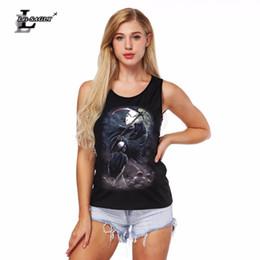 2019 sottogonne nere Lei-SAGLY Donna Sexy The Grim Reaper Canotte Nero Digital Print Vest traspirante Senza maniche Canotta Top Slim-Fit sconti sottogonne nere