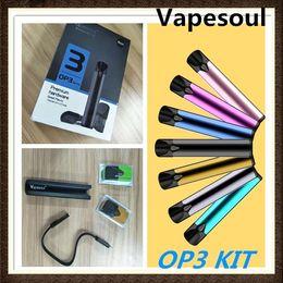 Indicador de energía de batería led online-Kits de cigarrillo electrónico Vapesoul OP3 auténticos Cartuchos de Vape Kit de inicio automático 420mAh Batería Vape Pen Pod Pod Capacidad 1.5 ml LED Indicador de energía