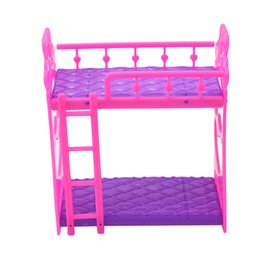 Wholesale American Girl Houses - Baby Girls Gift Mini Dolls House Toy Darling Doll Furniture for American Girl Double Layer Bed Assembly For Doll Accessories