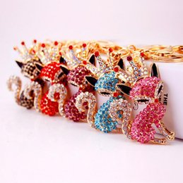Wholesale Key Chain Crown - FashionNew 2018 Couple Keychain Accessory Rhinestone Animal Fox Keychain Key Rings Luxury Crown With Crystal Sex Fox key chain