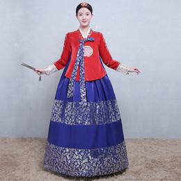 Tradicional Hanbok Coreano Noble Mujeres Vestido de Manga Completa Vestido de Bola 2 UNIDS Conjunto de Ropa de Cosplay Coro Dance Performance Costume desde fabricantes