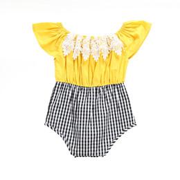 2019 giraffenknöpfe Baby-Spielanzug-Baumwollplaid-Overall-Sommer-Normallack-Dreieck-Bodysuit für INS scherzt Kleidung heißen Verkauf freies DHL 664