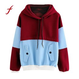 Wholesale Color Block Blouses - Women Color Block Patchwork Pocket Hooded Long Sleeve Sweatshirt Tops Blouse