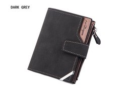 Wholesale Free Business Promotions - Promotion Mens High Quality Leather With Pu Wallets Cowhide Male New Short Design Brown Card Holder Wallet Free Shipping