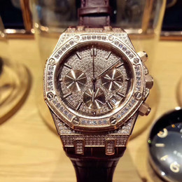 Wholesale Pin Gems - Top Brands Christmas Gifts Men's Watches Gold Diamond Watches Multi-Functional Movement Sapphire Mirror Leather Strap AAA Quality