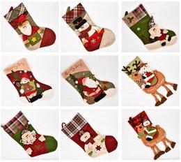 Medias de navidad online-Preciosas Chrismas Medias Patrones Navidad lindo Santa Decoraciones Calcetines 24 Patrones de la tela Decoraciones del árbol 16101601