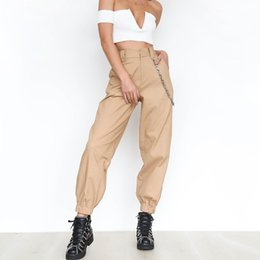 Wholesale Khaki cargo pants with chain Women cool trousers Black white female street wear Casual autumn summer casual thin pants outwear