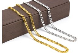 Wholesale 24k Real Gold Chain Necklace - Real 24K Yellow Gold Rhodium Plated Solid Cuban Curb Chain Mens Necklace Hip Hop Jewelry hip hop Style