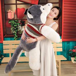 perros de peluche grandes Rebajas Hot Animal Husky juguete de peluche grande relleno de dibujos animados perro muñeca animales juguetes dormir almohada para el amante regalo 150 cm 170 cm 200 cm