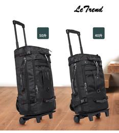 LeTrend 100% Travel Bag Rolling Luggage Spinner Suitcases Wheel 50L Carry  On Shoulder Bags Men s Handbags 64814ccc394af