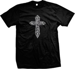 Филигранные кресты онлайн-Крест готический металлический филигрань мужская футболка 2018 новый с коротким рукавом мужчины 2018 новый с коротким рукавом мужчины 2018
