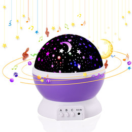 Wholesale Kids Star Projector - Child projector music Night Light Projector Spin Starry Star Master Children Kids Baby Sleep Romantic Led USB Projection Lamp