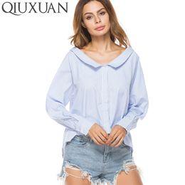 wholesale Long Sleeve Women Blouse Shirt Casual New Spring Autumn Fashion Peter  Pan Collar Striped Shirt Top Blouses 850beb02f