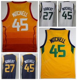 Wholesale College Blue - 2018 Basketball City Edition 45 Donovan Mitchell Jerseys Cheap Stitched 27 Rudy Gobert Jersey Sports College Yellow Navy Blue White