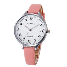Reloj de pulsera analógico mujer online-7 Colores Mujeres Reloj de Pulsera Famosa marca de Las Señoras de Cuero de Imitación de Cuarzo Analógico Reloj de Pulsera Reloj de Las Mujeres relojes mujer 2018
