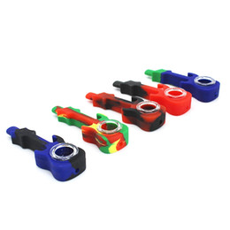 Wholesale Guitar Cleaning - Guitar Shaped Food Grade Silicone Pipes With Glass Bowl Smoking Pipes Exquisite Color High Quality Decorate Unique Design Easy To Clean