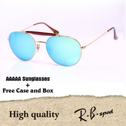 Wholesale Double Shield - New Arrival Sunglasses For Women Men Brand Designer Double Bridge Metal Frame uv400 Flash Mirror glass Lenses with cases and box
