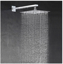 Wholesale shower arm wall - Free shipping 25cm * 25cm square stainless with arm ultra-thin 10 inch showerheads with pipe rainfall shower head.Rain shower.