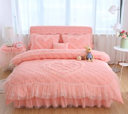 Wholesale Pink Crib Skirts - Princess Wedding Bedding Sets King Queen Girls Lace Bed skirt set Heart Pattern Quilted Duvet Cover Pillow Shams Bed room set