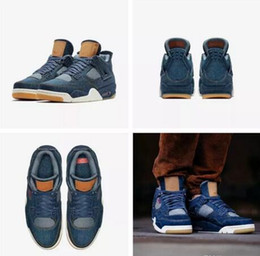 Wholesale Jeans For Cheap - NEW 2018 Cheap 4 Blue Jeans Denim x Jiont Limited Men's Basketball Shoes for AAA+ quality 4s Flight Fashion Sports Sneakers Size 7-13