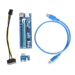 Cables expresos pci online-VKTECH Tarjeta USB Riser PCI-E PCI Express PCIe PCI-E mejorada 1x A 16x Extender adaptador w / 15pin a 6PIN Cable de alimentación para BTC Miner