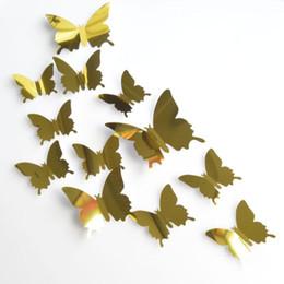 Mariposas plateadas para decoracion online-12 UNIDS PVC 3d Mariposa decoración de la pared Mariposa pegatinas de Pared de Plata Espejo Decoración Home Room Art 3D DIY Pegatinas calcomanías de arte