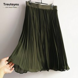Wholesale Womens Long Chiffon Maxi Skirt - [Custom Made] 2017 New Fashion Maxi Long Pleated Skirt Chiffon Skirts Womens High Waist Bridesmaid Skirt faldas saia jupe