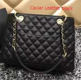Wholesale Faux Fur Shop - 2018 Top Quality Classic Black Caviar Leather Bag Grand Shopping Tote Bag Lambskin Quilted Bag With Gold Hardware 34*13*25cm