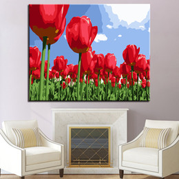 Wholesale Tulips Flower Cartoon - Red Tulip Flower DIY Painting By Numbers Kits Hand Paint Oil Pictures Wall Art Digit Drawing Coloring Home Decor For Living Room