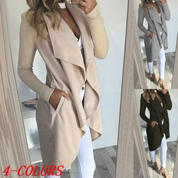 Wholesale Black Trenchcoat - New Arrival Ladies Asymmetric Turn-down Collar Long Coat Solid Color Large Laple Trenchcoat Long Sleeve Cardigan Windbreaker Outerwear