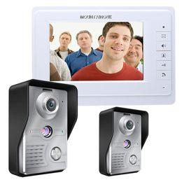 "Wholesale Wired Doorbell Intercom System - FREE SHIPPING Wired 7"" Color Video Intercom Door Phone Doorbell System 1 Monitor 2 700TVL Waterproof Outdoor Camera In Stock"